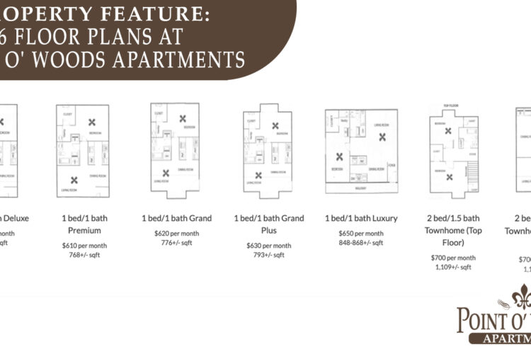 Property Feature: 6 Floor Plans at Point O' Woods Apartments